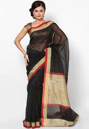 Black Cotton Blend Saree