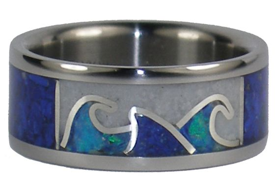 Titanium Ring with Lapis Shark Fin, White Coral and Opal - pretty sure this is going to be my wedding ring!