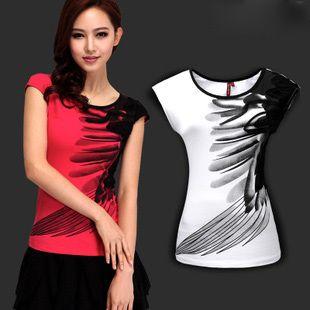 2013 neue kommen federn tinte liebliche prinzessin baumwolle damen' t- shirt kurzarm mei rot und weiß Größe S-3XL dwj09 frei
