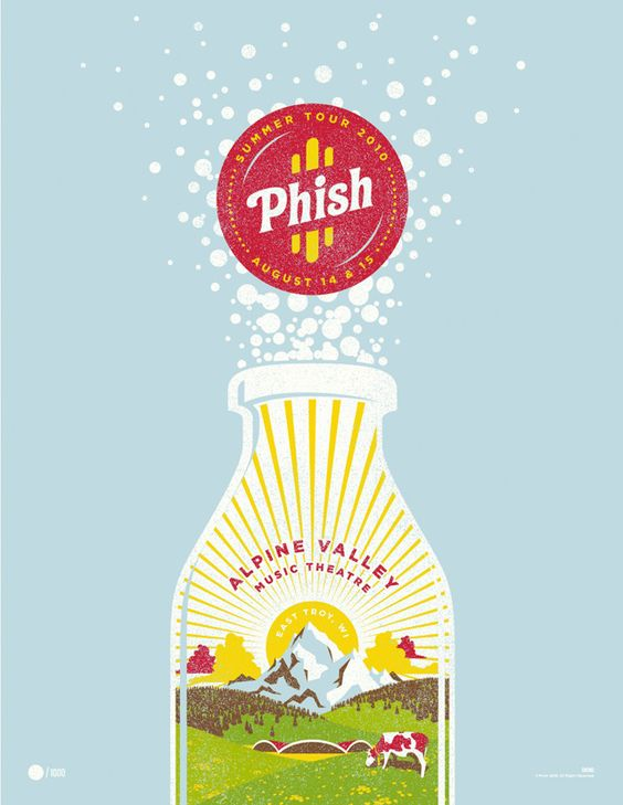 Phish poster; 4-color screen print on colored stock = 7-color poster