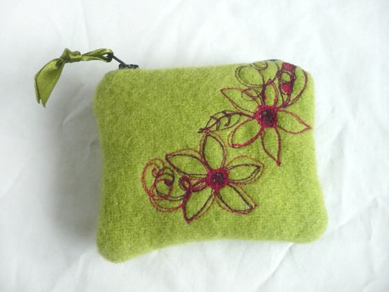 Wool coin purse - embroidered wool coin purse - hand dyed lime green zipped pouch on Etsy, $21.58 AUD