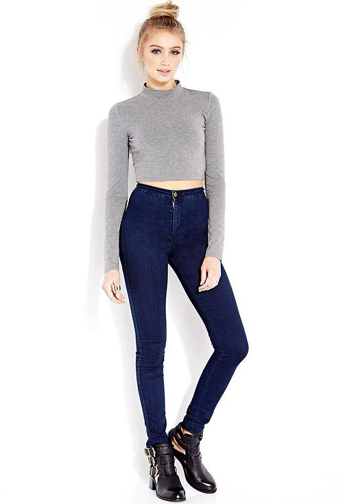 gray long sleeved crop top blue high waisted jeans  Outfits