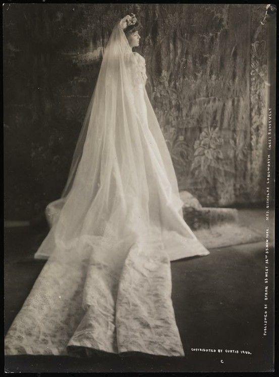 Alice Roosevelt Longworth in her wedding dress, 1906: