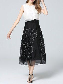 Elegant Sleeveless Polyester Paneled Midi Dress