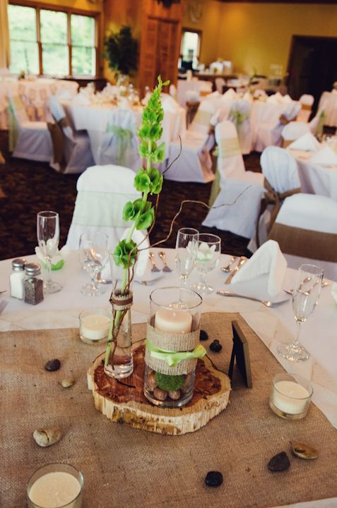 wedding reception tables - mountain rustic themed - budget centerpieces - burlap - wood - bells of ireland -  Jayne B Photography