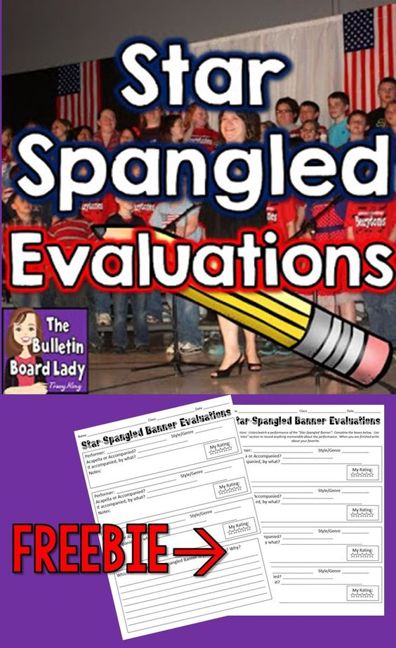 """Mrs. King's Music Room: Star Spangled Banner Evaluations  FREE download of a fabulous activity for analyzing different performances of the """"Star Spangled Banner"""".  Links to videos and great ideas for using it in your classroom. Students love this patriotic activity."""