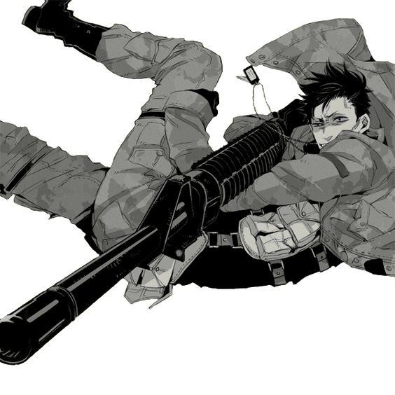 銃を構えるニコラス