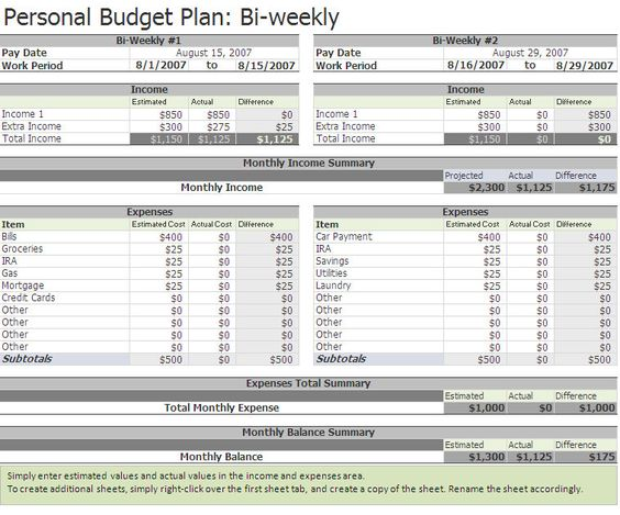 Pin by Miranda Smith on Bi Weekly Personal Budget Template Pinterest