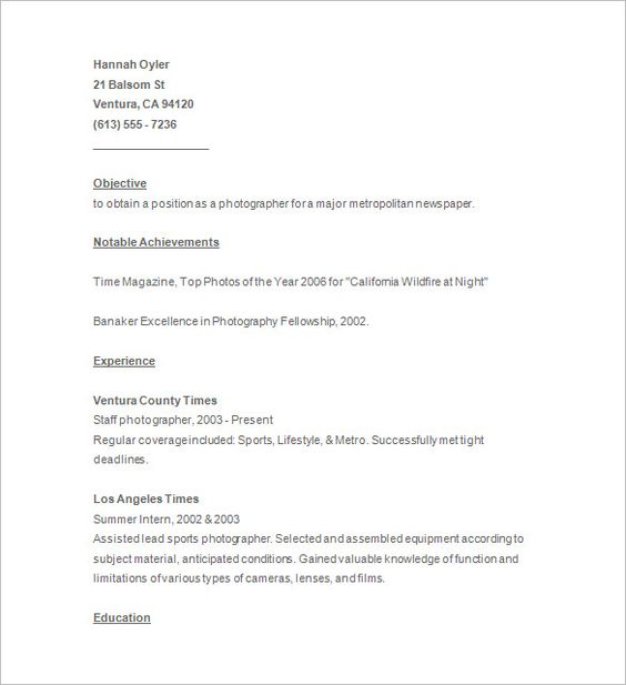 Photographer Resume Template u2013 17+ Free Samples, Examples, Format - photography objective resume