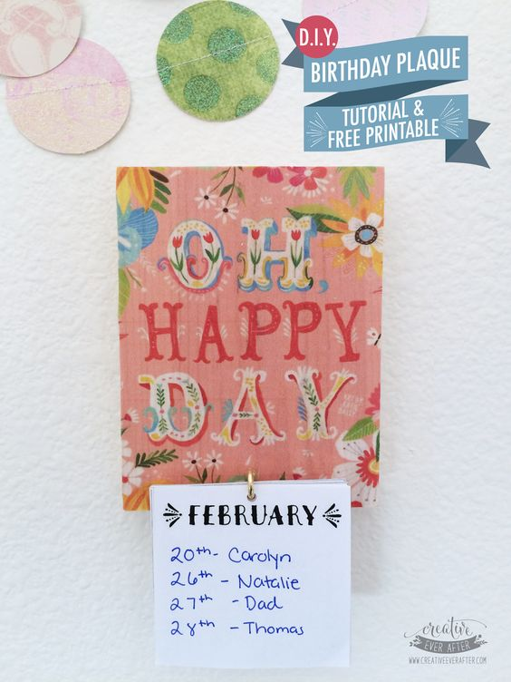 diy birthday calendar plaque tutorial and free printable mops crafts final pinterest