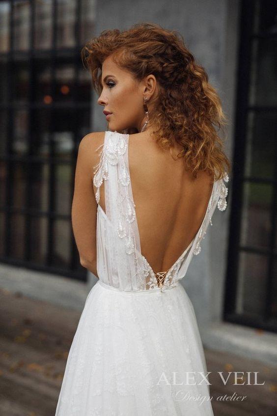 romantic open back wedding dress