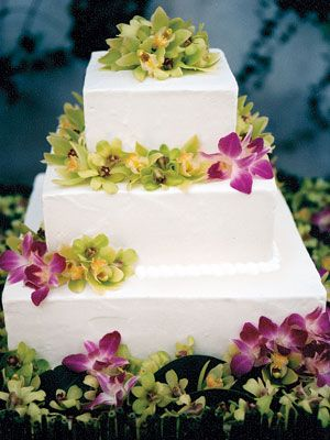 Hansen's Cakes the three-tier chocolate-and-vanilla cake garnished with fresh orchids