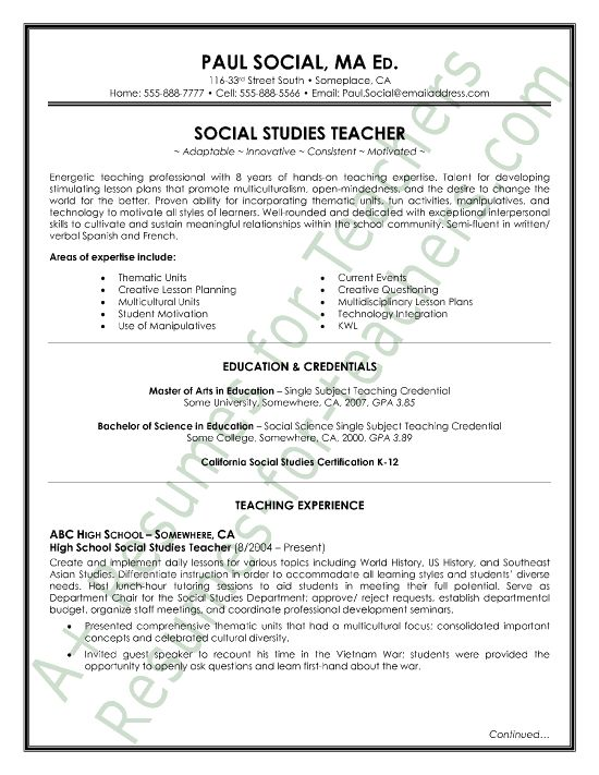 Resumes Samples For Teachers In India - Http://Www.Resumecareer