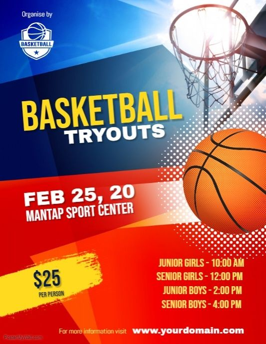 Basketball Tryouts Flyer Poster Template Basketball Tryouts