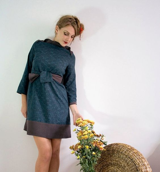 Layered tunic in washed heavy purple Silk and french by nivule