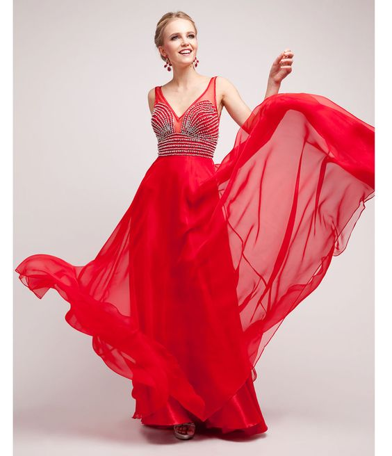 2014 prom dresses red chiffon stone evening gown 40751