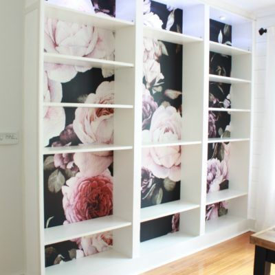 How To Apply Removable Wallpaper To Ikea Billy Bookshelves Wallpaper Bookshelf Ikea Billy Ikea Bookshelves