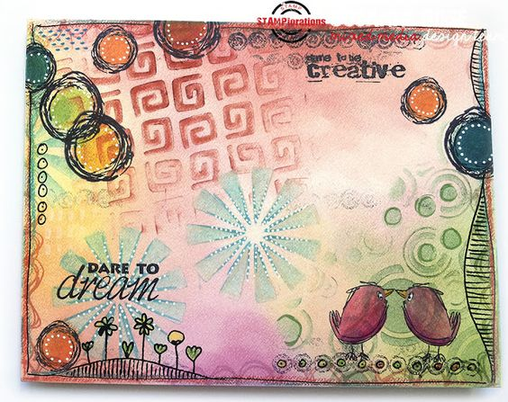 Susanne Rose - Papierkleckse: Mail Art Envelope with PanPastels and STAMPlorations