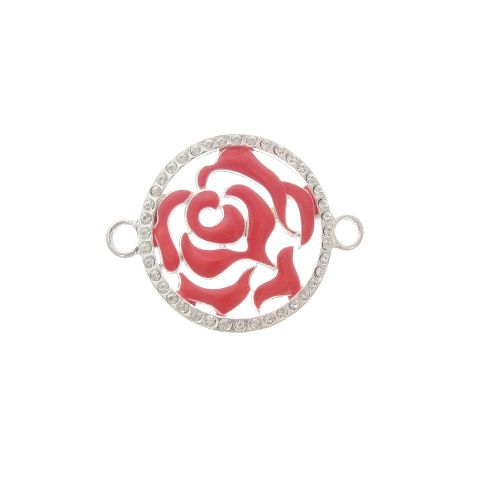 35mm Red Enamel Rose Connector With Rhinestones