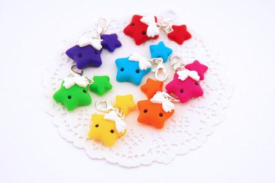 Rainbow Kawaii Star Planner Charm - Planner Charms - Kawaii Charms - Polymer Clay Charm - Planner accessories - Star charms - Kawaii Planner