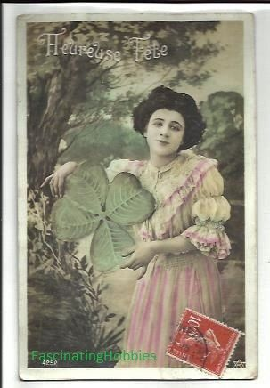 1906 WOMAN with Lucky SHAMROCKS CLOVERS   by FascinatingHobbies, $8.50