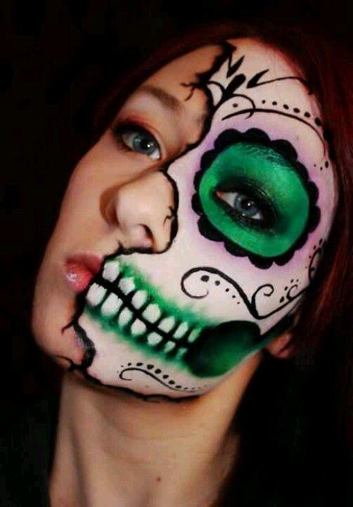Sugar Skull Face painting by Tattoo Artist.