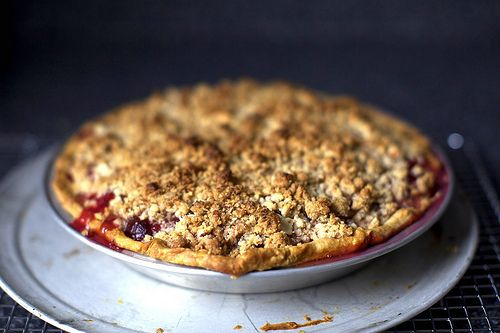 Today's CSA recipe. Yum! sour cherry pie with almond streusel