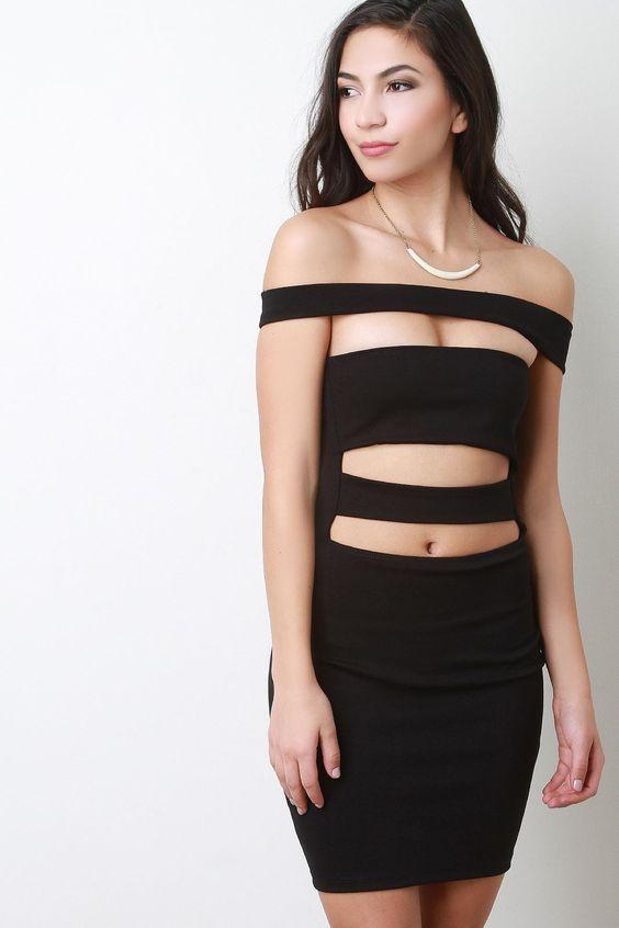 Off-The-Shoulder Caged Panel Mini Dress