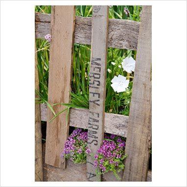 Recycled wooden fence in the 'Garlic Lover's Garden', the Garlic Farm - RHS Hampton Court Flower Show 2011