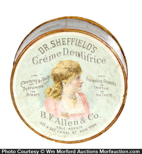 Antique Advertising | Dr. Sheffield's Creme Dentrifice Tin • Antique Advertising