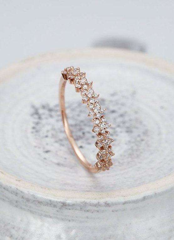 Diamond Wedding Band Rose Gold Star Matching Stacking Ring M