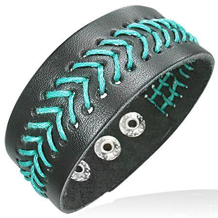 Zwarte brede leren armband