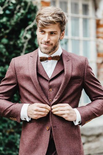 The Most Popular Groom Suits ★ groom suits burgundy with bow vest ladonnahochzeitsatelier