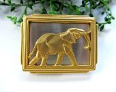 Exotic JJ Gold Elephant On Silver Pendent Enhancer Clip On Hook On For Necklace Blouse Or Scarf