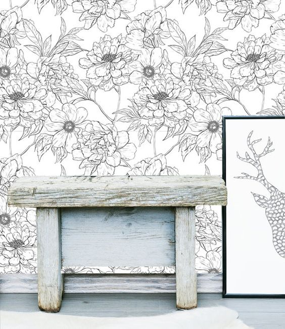 Floral Wall Mural   Flower Self Adhesive Fabric by LimeWallDecor