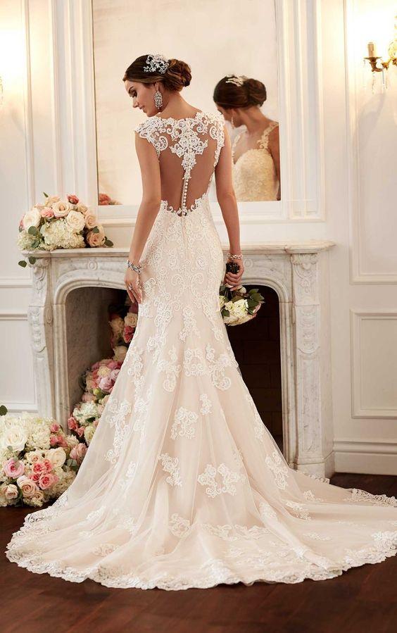 Pas cher Robe De Noiva 2015 Vintage dentelle Backless robes De mariée ...