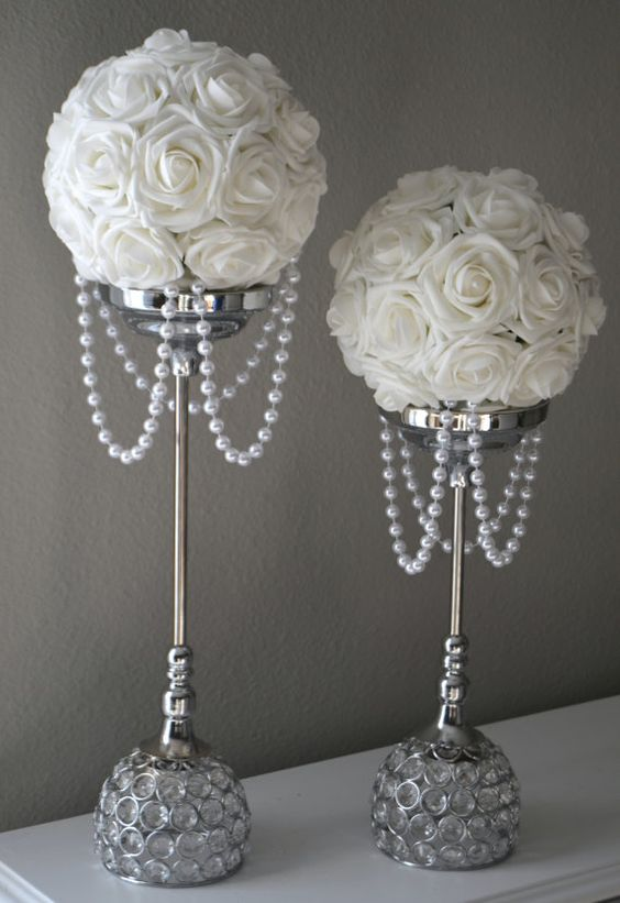 WHITE Flower Ball With DRAPING PEARLS. Wedding by KimeeKouture: