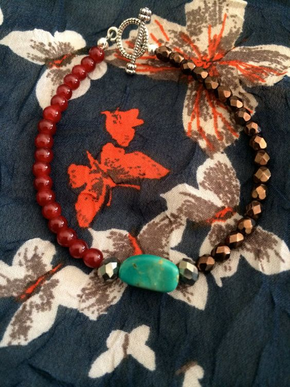 Copper Red and Turquoise Bracelet by KarisaMiaDesigns on Etsy, $22.00