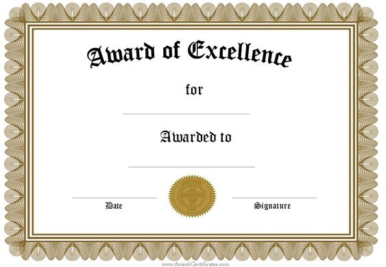 Blank Certificate Of Excellence #excellence #certificatetemplate - award of excellence certificate template