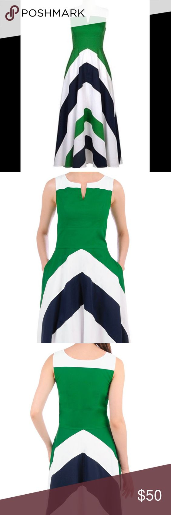 """Eshakti chevron color block maxi blue green dress Retails $102.95 NWOT Contrast tones vitalize our 50s fit-and-flare dress styled with a notched neckline and banded chevron stripes at the full flared skirt. Size 14 long/tall  Side zip with hook-and-eye closure. Split boat neckline. Sleeveless, inner bra strap keeps. Princess seamed bodice. Wide banded empire waist. Side seam pockets. Full length with 3"""" heels on. Lined in cotton voile. Cotton, woven poplin, pre-shrunk, smooth finish, light…"""