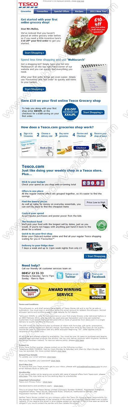 Company:  Tesco Stores Subject:  Save 10 on your first online Grocery shop               INBOXVISION providing email design ideas and email marketing intelligence.    www.inboxvision.com/blog/  #EmailMarketing #DigitalMarketing #EmailDesign #EmailTemplate #InboxVision  #SocialMedia #EmailNewsletters