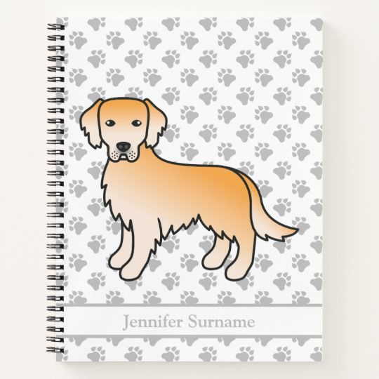Golden Yellow Golden Retriever Dog Custom Text Notebook Zazzle
