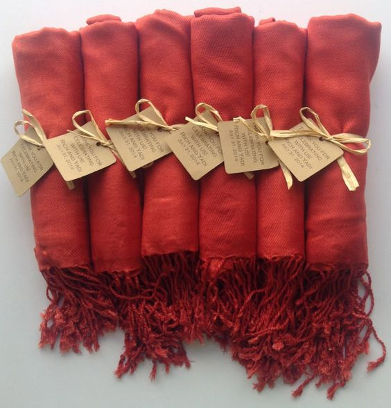 Set Of 10 Burnt Orange Shawls With Favor Tags Pashmina Wedding Bridesmaids Gift Wraps Welcome Bags Keepsakes