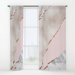 Spliced Mixed Rose Gold Marble Window Curtains In 2020 Gold