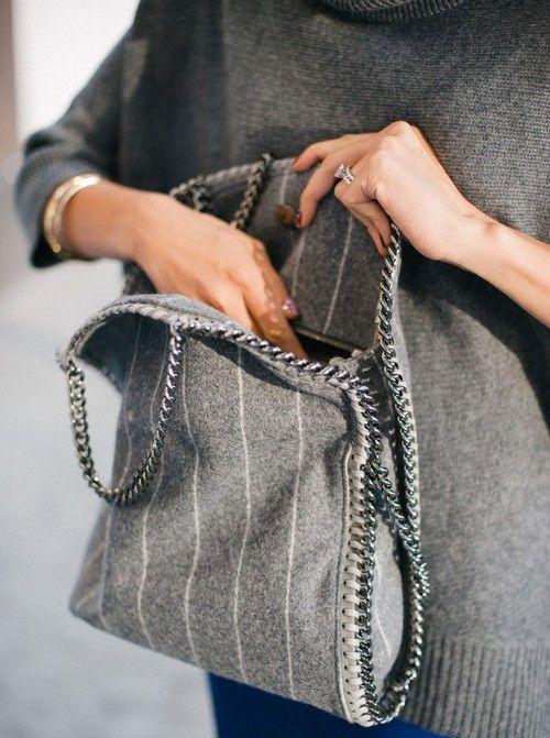 Grey felt wool and chain Stella McCartney bag