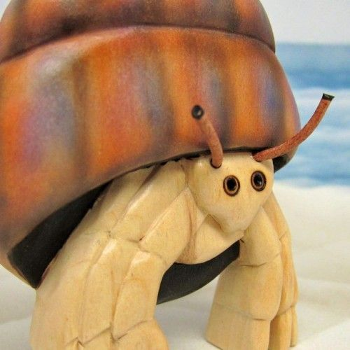 Hermit Crab Carving Painted Wood Sea Creature Sculpture   SandraHealy - Sculpture on ArtFire