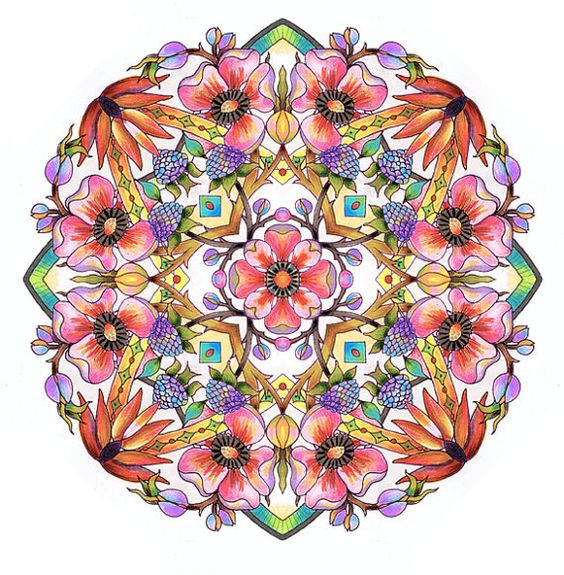Mandalas: Set 5, Garden Flowers A portfolio of complex coloring pages for adults by Vermont artist, Cynthia Emerlye.  This is Set 5 in my Mandala. Her books may seem a little pricey but her work is worth every penny, great quality. I love the book I bought from her.