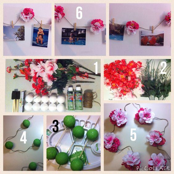 Guirlande de fleurs pour accrocher des photos