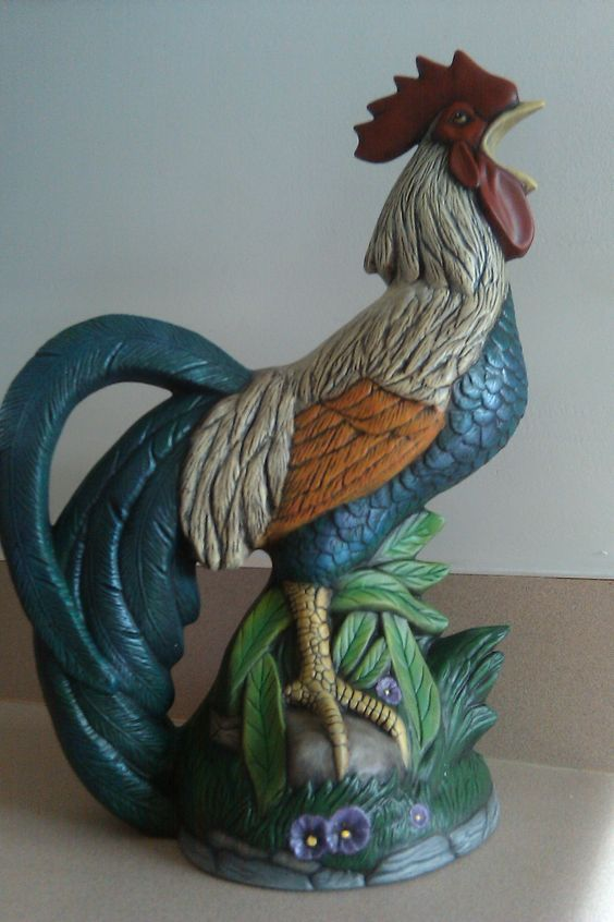 Antiqued ceramic rooster