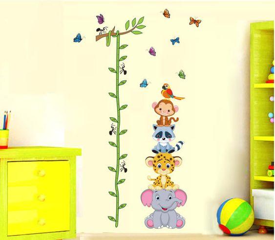 Jungle Animal Height Chart Nursery Kids Baby by AllWallStickers